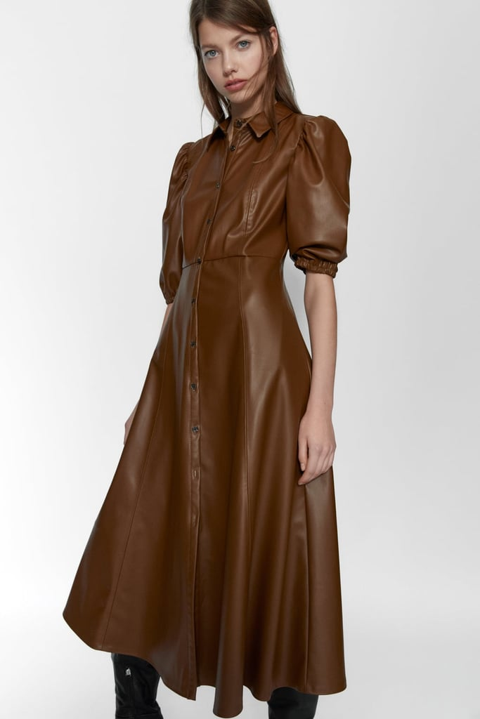 Zara Faux Leather Shirt Dress