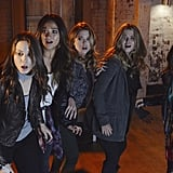 Who is it? Ezra? Mrs. DiLaurentis? Whoever's after the girls, they better start running. Source: ABC Family
