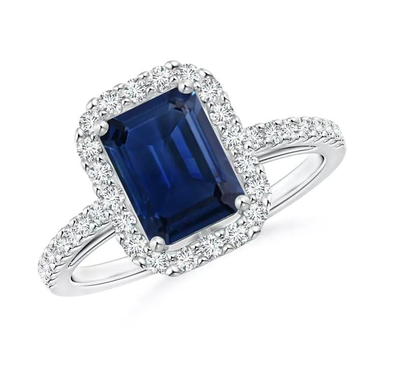 Angara Vintage Inspired Emerald-Cut Tanzanite Halo Ring 85nRybjdjV