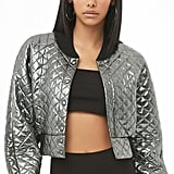 Forever 21 Quilted Metallic Bomber Jacket