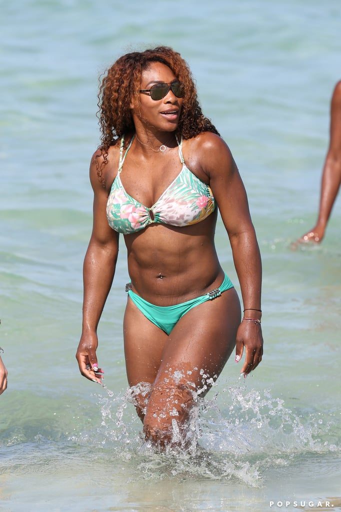 Serena Williams wore a green and floral two-piece swimsuit in June while relaxing in Miami with friends.