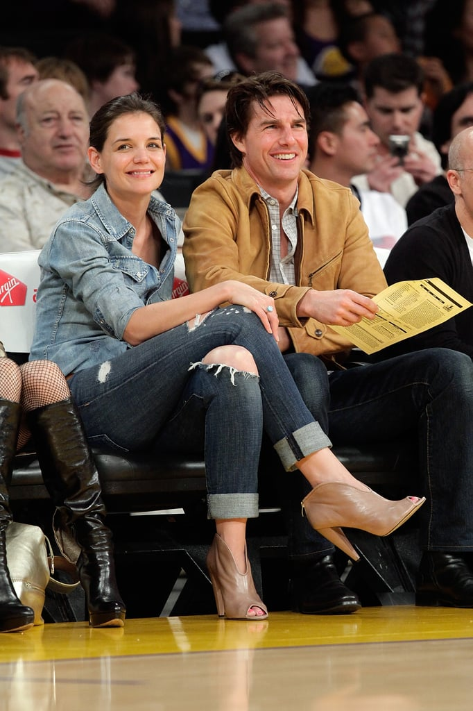 Katie Holmes and Tom Cruise sat courtside for a Lakers game in March 2010.