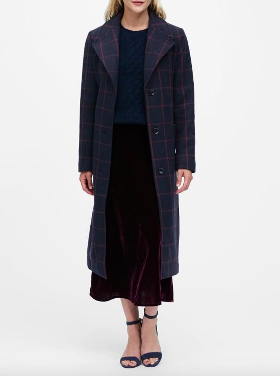 Plaid Italian Melton Long Coat