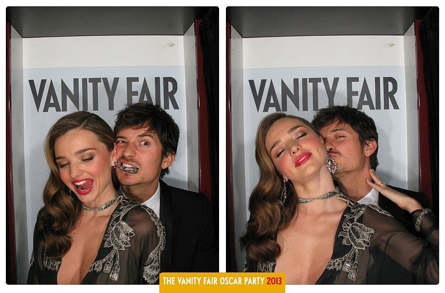 The couple got cheeky and sexy inside Vanity Fair's Oscars party photo booth in Feb. 2013.