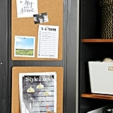 Line the inside of cabinets with self-adhesive corkboard to create an organiser's dream. Keep things like schedules posted on mudroom cabinets, and pin favourite recipes or take-out menus to kitchen cabinets.