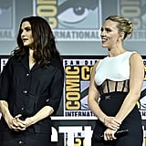 Pictured: Rachel Weisz and Scarlett Johansson at San Diego Comic-Con.