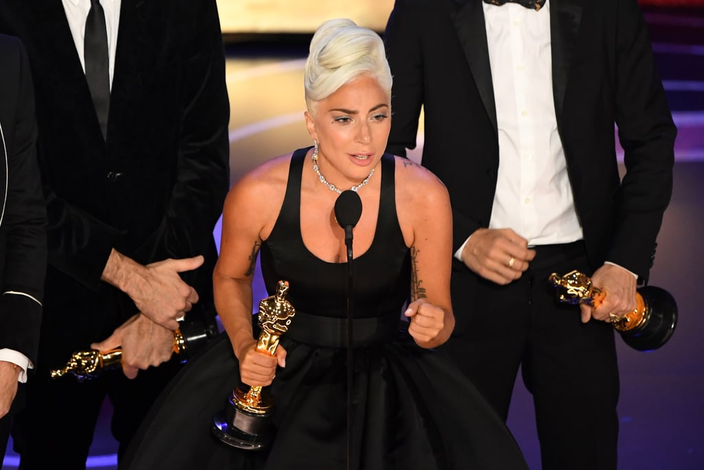 "Lady Gaga is officially an Oscar winner! On Sunday, the singer took home best original song for ""Shallow"" in A Star Is Born. Gaga was overwhelmed with emotions as she made her way to the stage to give her speech. Naturally, she gave a sweet shout-out to her costar Bradley Cooper, who performs the song with her in the movie. The singer also took a moment to encourage everyone watching to work hard and never give up on their dreams. ""If you have a dream, fight for it,"" she said.  While this is Gaga's first Oscar, it actually isn't her first nomination. In 2016, she was nominated for best original song for ""Til It Happens to You,"" which was featured in the documentary film The Hunting Ground about campus rape in the US. She even gave a moving performance of the song during the 2016 Oscars as she was joined by sexual assault survivors on stage.  With her recent win, the singer is officially halfway to achieving EGOT status!"