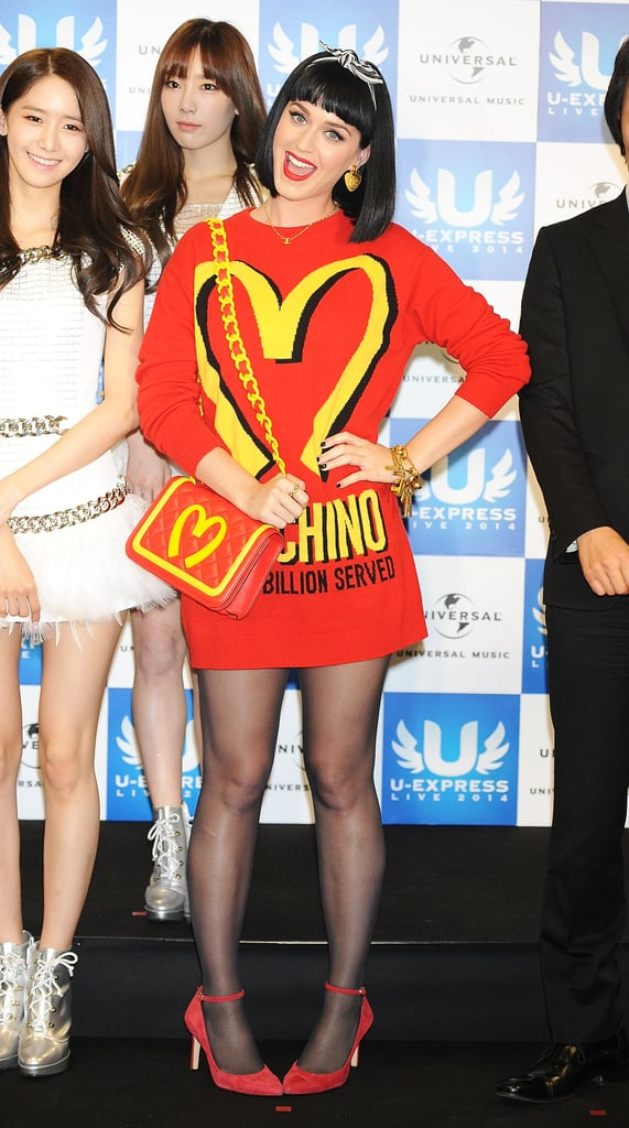 On Sunday, Katy Perry attended a press conference in Saitama, Japan.