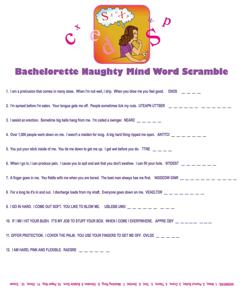 naughty mind word scramble free bachelorette party printables