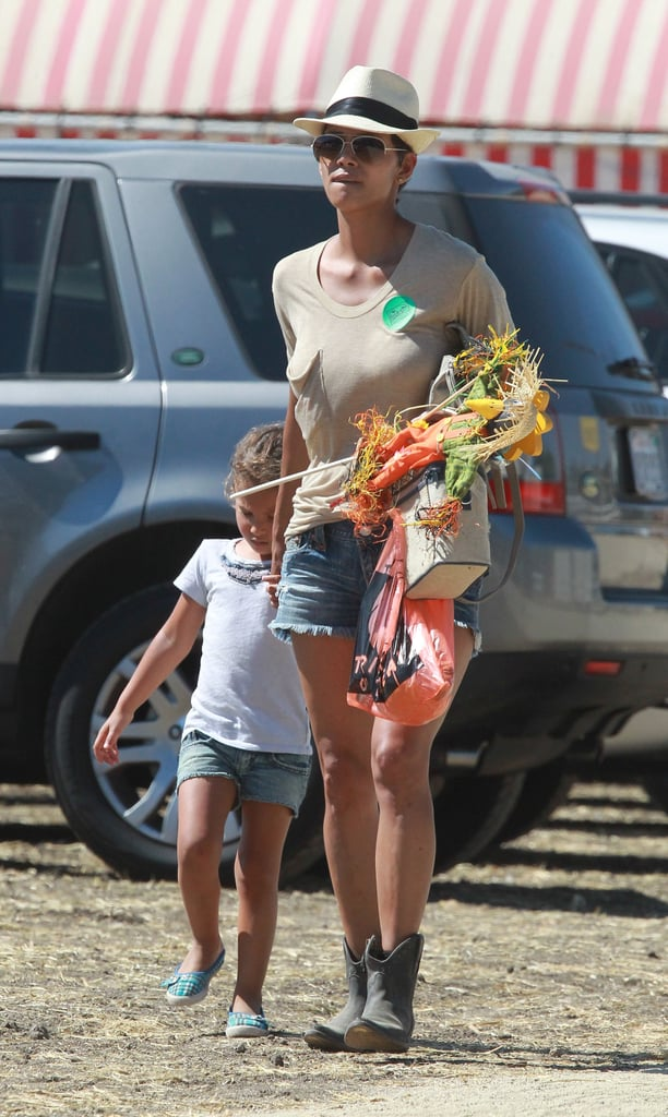 Halle Berry brought her daughter Nahla Aubrey to a pumpkin patch in Simi Valley.
