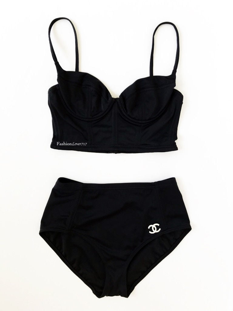 24b9d4881a1cde Vintage Chanel Two-Piece High-Waisted Bikini Swimsuit | Let's Just ...