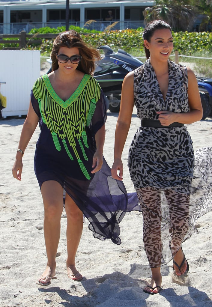 Kim and Kourtney Kardashian caused a scene as fans and cameras documented their every move during a stroll along the beach in Miami yesterday. The pair wore tropical outfits for their midday outing and were spotted carrying on a conversation. The eldest Kardashian sisters are currently on location in South Florida filming Kourtney & Kim Take Miami while younger sis Khloe is working out a new TV deal back at home in LA. Khloe is reportedly set to cohost The X Factor alongside Mario Lopez. Fox has yet to confirm the news; however, a formal announcement is expected some time this week. Khloe and Mario are the latest big names to join The X Factor this season, following in the footsteps of new judges Britney Spears and Demi Lovato. So far Britney's been brutally honest with contestants, but when it was time for her to sit down with our I'm a Huge Fan winner, she was full of smiles and Southern hospitality. Check out the latest episode of I'm a Huge Fan: Britney Spears!