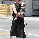 January Jones and Xander crossed a street in LA.