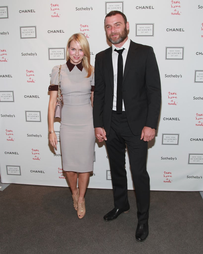 Naomi Watts and Liev Schreiber held hands on the red carpet of the Take Home a Nude art auction in NYC.