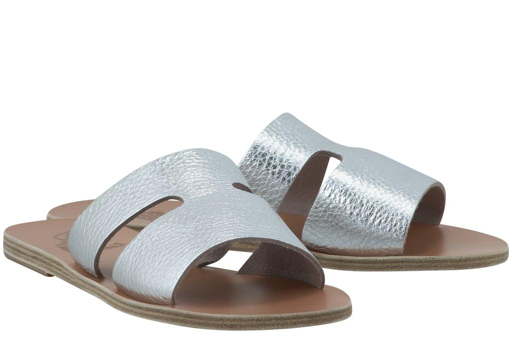 Ancient Greek Sandals Apteros Metallic Leather Slides
