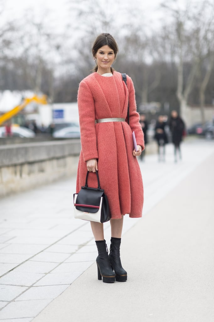 Hanneli Mustaparta showed off a gorgeous coat and statement-making footwear. Source: Le 21ème | Adam Katz Sinding