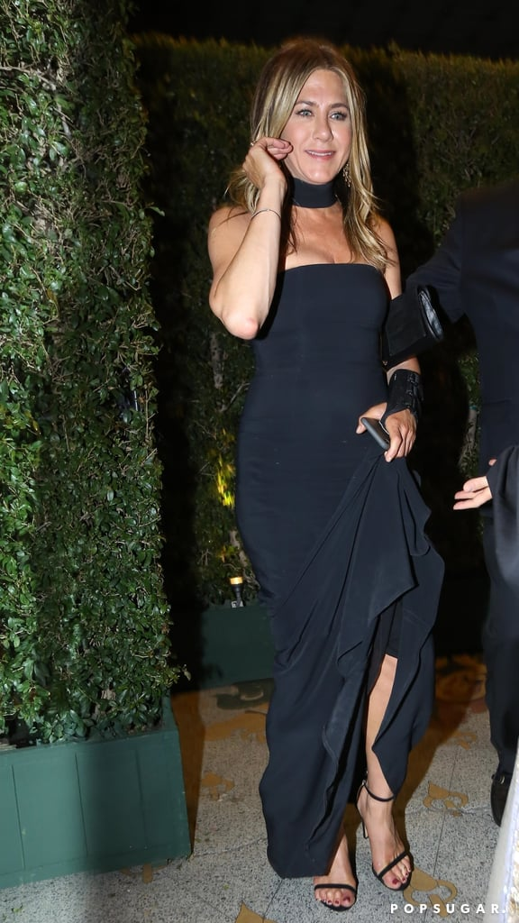 Jennifer Aniston Black Dress at Gwyneth Paltrow's Engagement