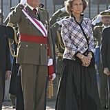 Queen Sofía in a Plaid Jacket and Black Ball Skirt, January 2007