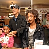 In August 2009, the girls indulged in some snacks with their dad as they visited Alley's General Store in West Tisbury, MA.