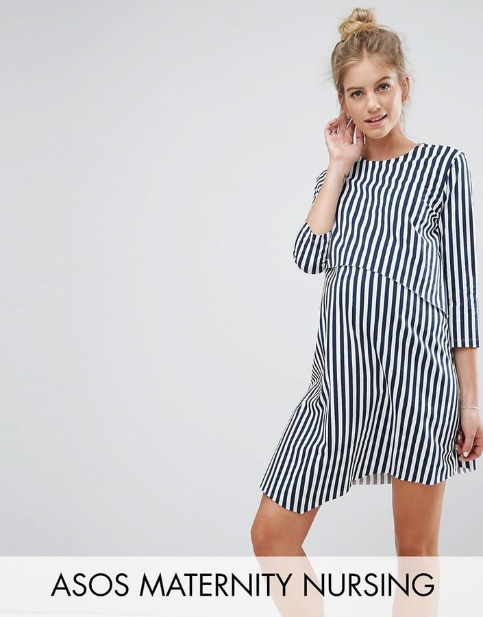 47f66e5d52976 ASOS 3/4 Sleeve Asymmetric Dress with Double Layer in Stripe ...