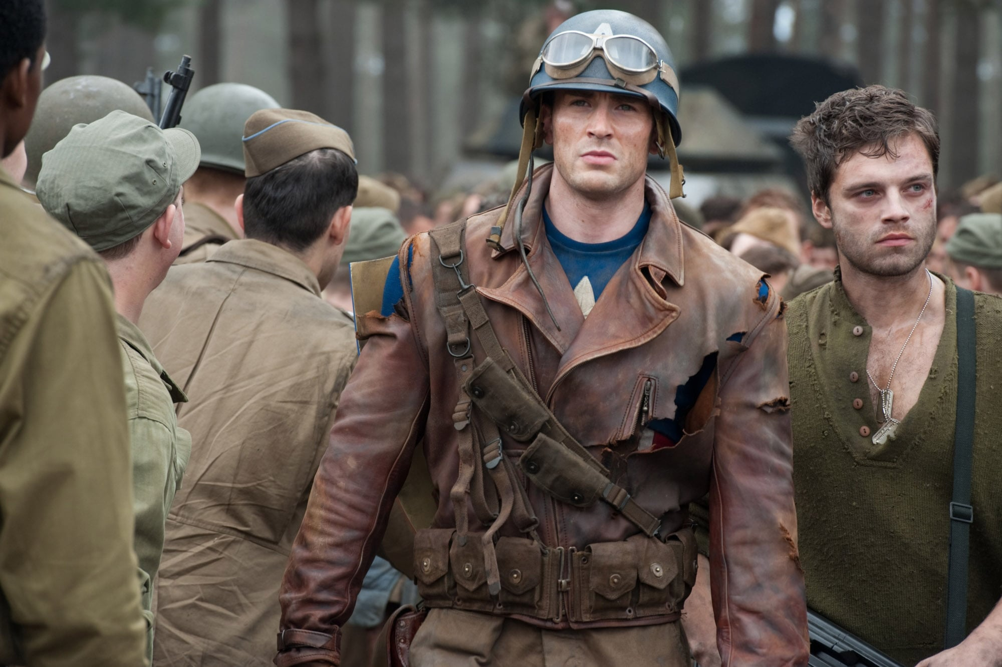 CAPTAIN AMERICA: THE FIRST AVENGER, from left: Chris Evans, Sebastian Stan, 2011. ph: Jay Maidment/Paramount Pictures/courtesy Everett Collection