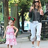 Sarah Jessica Parker walked with her daughter Tabitha Broderick.