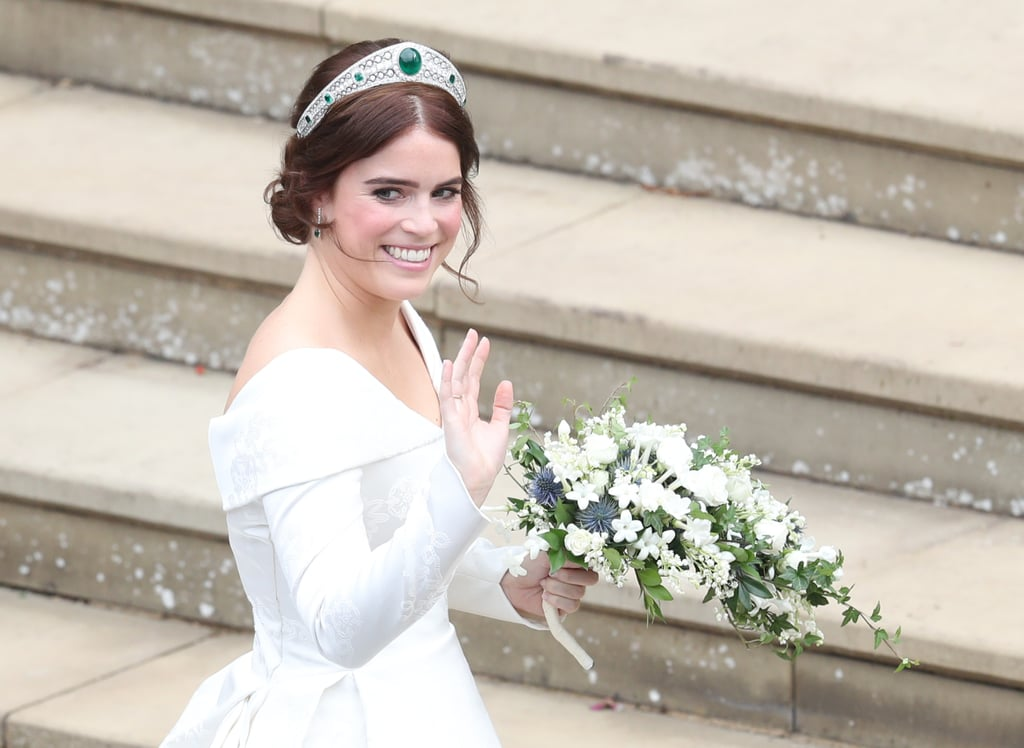Since the news of Princess Eugenie's engagement broke, we've been eagerly waiting to see not only what wedding designer she chooses but what tiara she will wear, too. (Because what's a royal wedding without an amazing tiara?) The Princess accessorized her Peter Pilotto wedding dress and one-of-a-kind engagement ring with a stunning tiara loaned by Queen Elizabeth herself. While it was rumored that Eugenie would follow in her mother's footsteps and wear the York tiara, she opted for the Greville Emerald Kokoshnik tiara.  Fun fact: the beautiful tiara was made by Boucheron for Mrs. Greville in 1919. It featured brilliant and rose cut diamonds pavé set in platinum, with six emeralds on either side. The tiara was later bequeathed by Mrs. Greville to Queen Elizabeth II in 1942. Read on to get a closer look at her stunning wedding tiara ahead.      Related:                                                                                                           Princess Eugenie's Floral Dress Is the Kind You'd Would Want to Wear to Your Engagement Party