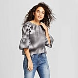 Women's Gingham Button Back Top