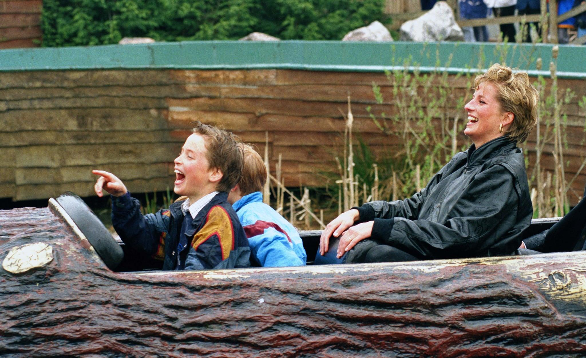 Diana Princess Of Wales, Prince William & Prince Harry Visit The 'Thorpe Park' Amusement Park. (Photo by Antony Jones/UK Press via Getty Images)