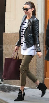 Miranda Kerr in Striped Sweater by The Row Toting Celine Bag