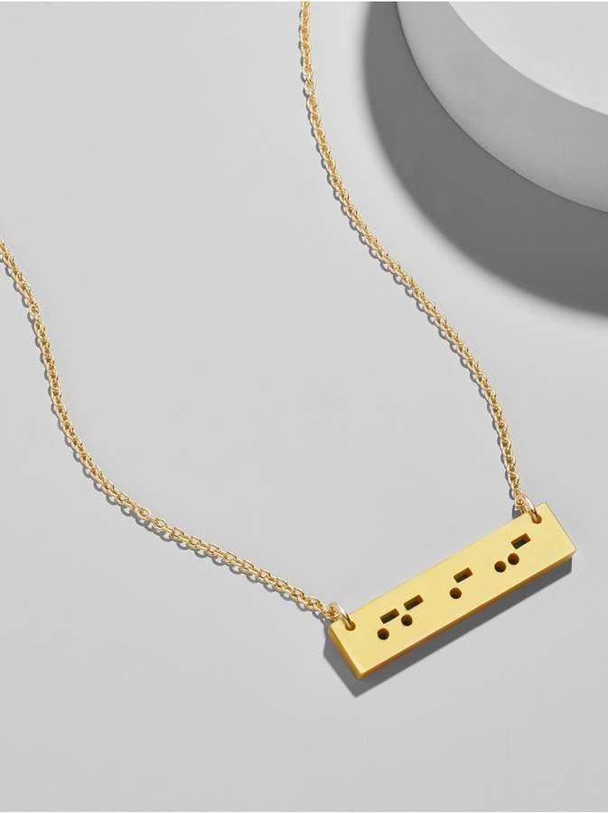 BaubleBar Acrylic Morse Code Bar Pendant