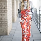 A Bold Printed Jumpsuit With a Poloneck and Creepers