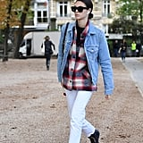 Vittoria Ceretti Looked Cool Leaving the Alexander McQueen Show in a Plaid Shirt and Denim Jacket