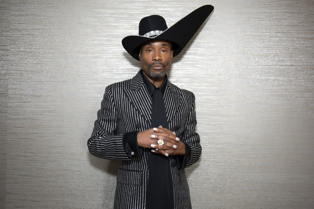 When Billy Porter arrived at the 2019 Emmy Awards, you may have been immediately struck by his crystal-embroidered Michael Kors pantsuit and the giant, Western-like hat that he wore with it. But if you looked a little bit closer, you may have also noticed that the Pose actor added even more drama to his look by finishing it off with a crystal manicure — because there's no such thing as too much bling.  According to The Hollywood Reporter, Porter was wearing 130,000 crystals and $50,000 worth of diamonds on Sunday night. For someone who just made history as the first openly gay, black actor to win the Emmy for Outstanding Actor in a Drama, it was only fitting that he hit the red carpet with a look that's just as scene-stealing as his character is on Pose. Read ahead to see a few close-up photos of Porter's manicure.      Related:                                                                                                           The Cast of Pose Turns the Red Carpet Into a Fabulous Ballroom Floor at the Emmys