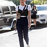 Keep Your Cutout Jumpsuit Modest by Layering a Tee Underneath