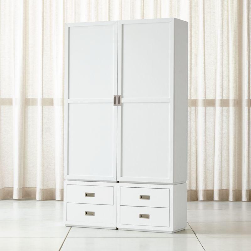 Celeste: Aspect White Four Piece Wood Door Storage Unit With Drawers