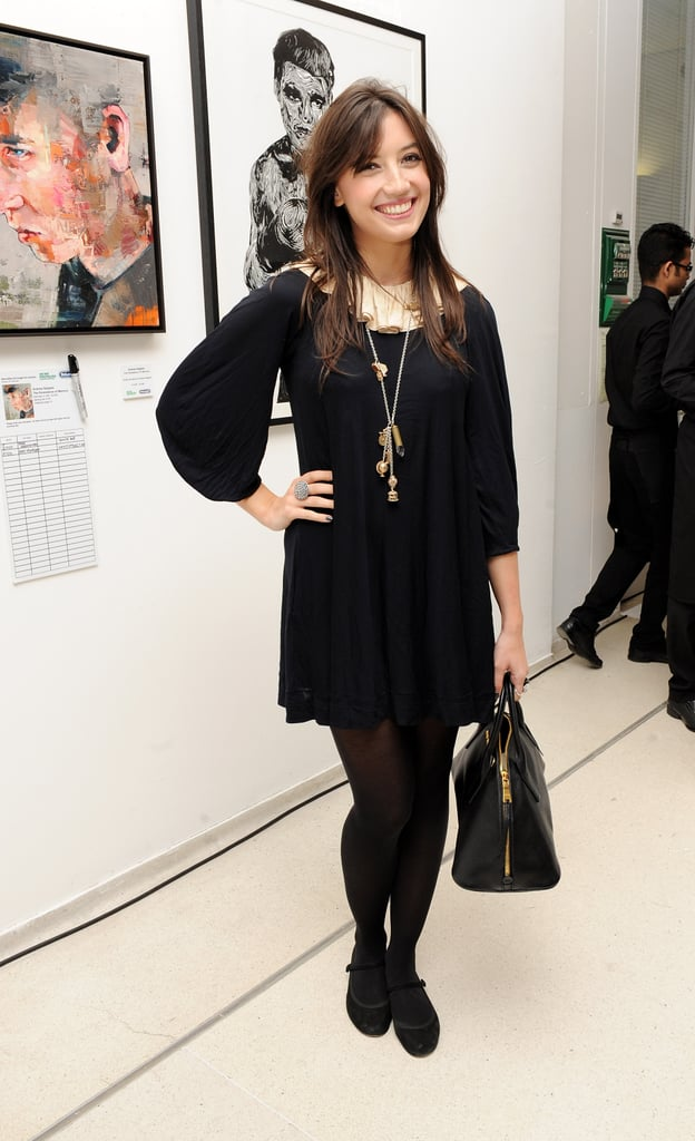 Daisy Lowe stuck to a mostly black palette at the Macmillan De'Longhi Art Auction in London.