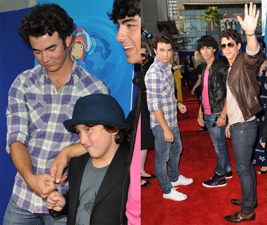 Photos of Nick Jonas, Joe Jonas, Kevin Jonas, Frankie Jonas at the Premiere of Ponyo