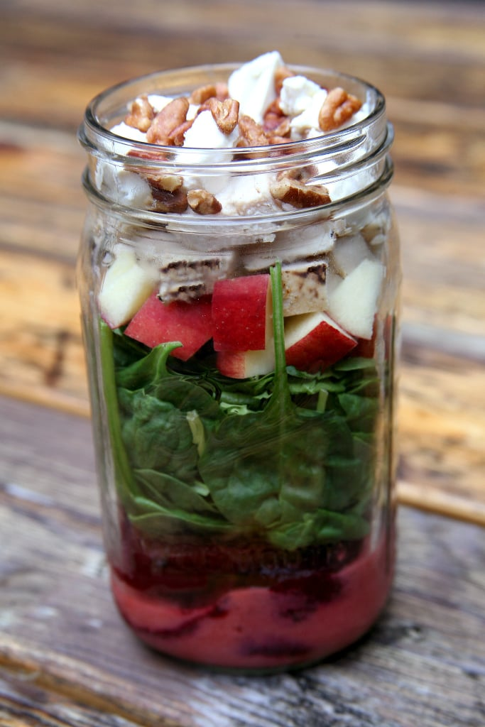 Grilled Beet, Chicken, Apple, and Spinach Salad With Strawberry Vinaigrette