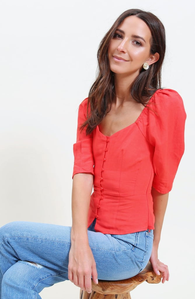 Something Navy Front-Button Fitted Top