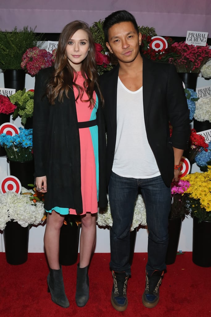 Elizabeth Olsen partied with Prabal Gurung in a sherbert and turquoise colorblocked dress at the launch party for the designer's Target collaboration collection in NYC.