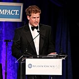 Prince Harry gave an acceptance speech as the recipient of the Distinguished Humanitarian Leadership Award in Washington DC.