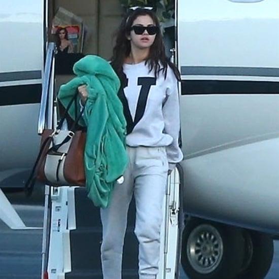 Selena Gomez Wearing Gray Sweatpants on a Plane