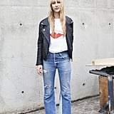 The cool-girl way — with a leather jacket, tee, and walkable heels