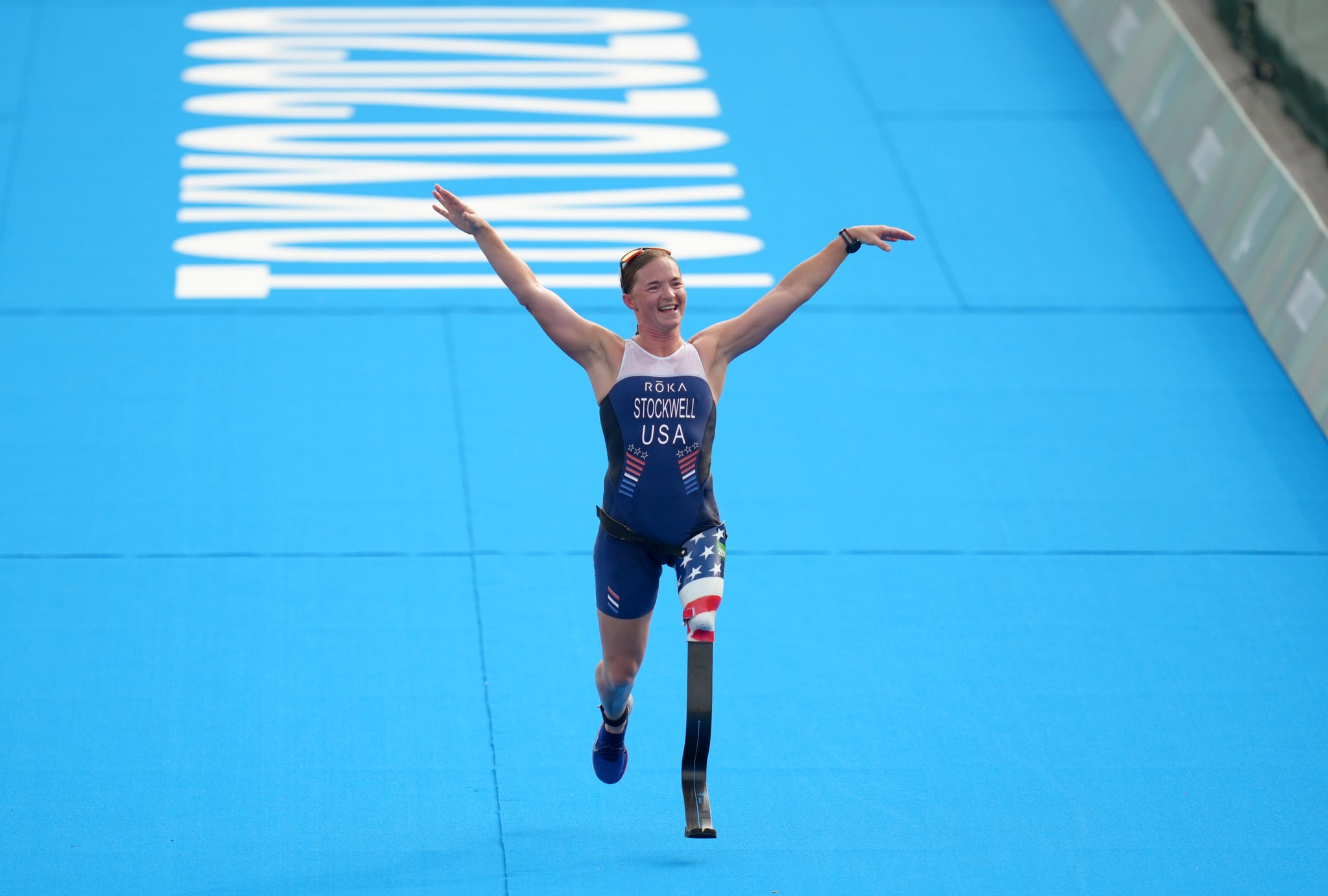 USA's Melissa Stockwell crosses the line to finish fifth in the Women's PTS2 Triathlon at the Odaiba Marine Park during day four of the Tokyo 2020 Paralympic Games in Japan. Picture date: Saturday August 28, 2021. (Photo by John Walton/PA Images via Getty Images)