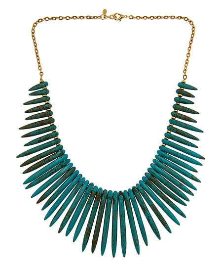 This is the ultimate in statement-making jewelry.   Yochi Blue Agate Dagger Necklace ($90)