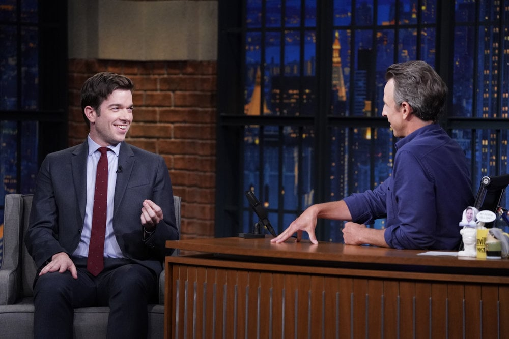 LATE NIGHT WITH SETH MEYERS -- Episode 1187A -- Pictured: (l-r) Comedian John Mulaney during an interview with host Seth Meyers on September 7, 2021 -- (Photo by: Lloyd Bishop/NBC)