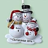 Expectant Family Snowman Ornament
