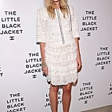 Dree Hemingway made a pretty appearance in a sweet pearl-adorned white Chanel top and girlie, ruffled skirt. She offset the white palette with a pair of pastel green Mary Janes.