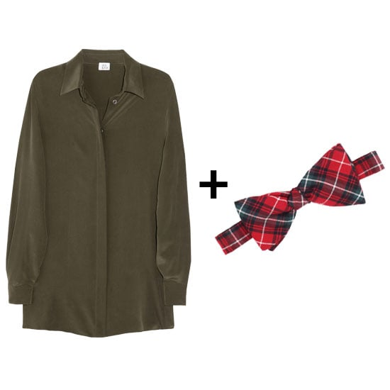 This green and red pairing is far from cheesy, right? We love the idea of adding just a touch of holiday cheer to this look with a plaid bow tie. Just give the look a little more edge and pair it with black leather shorts and ankle boots. Get the look:  Iris & Ink silk shirt ($115) Pendleton plaid bow tie ($38)